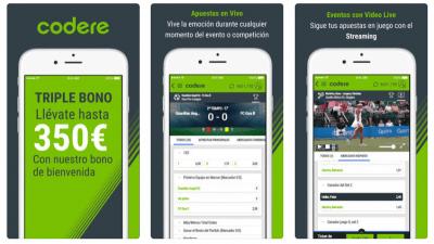 Mejores aplicaciones de apuestas deportivas: Codere App menú