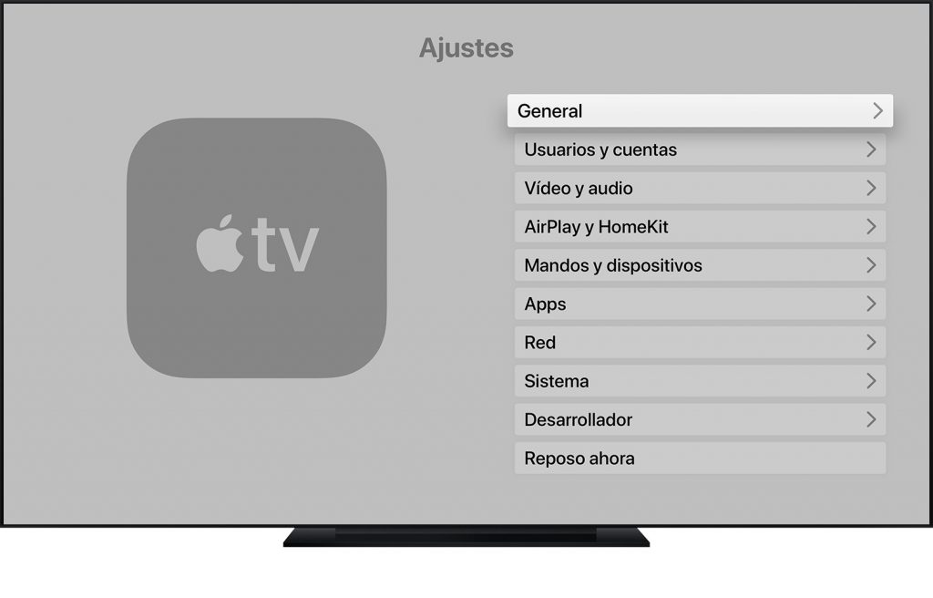 Menú Ajustes Apple Tv