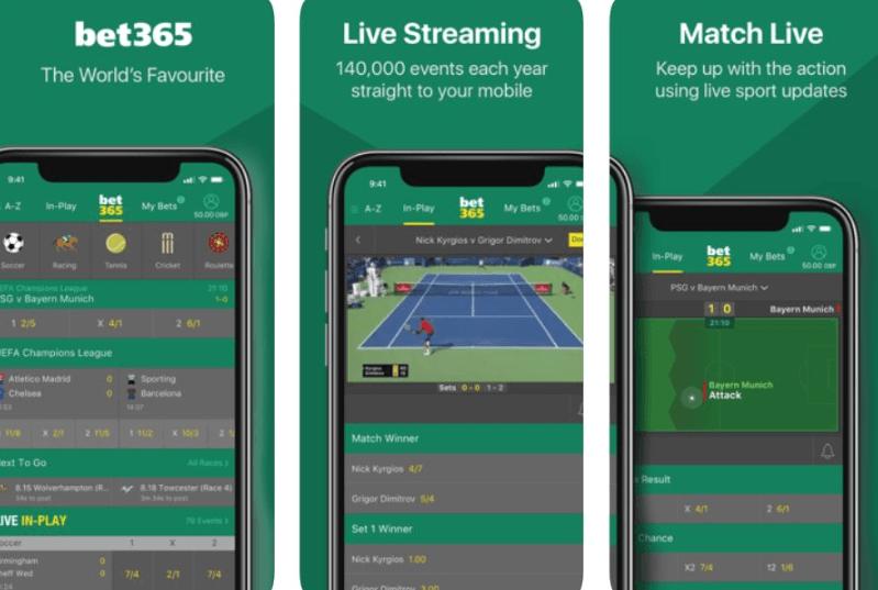 Mejores aplicaciones de apuestas deportivas: Bet365 menú