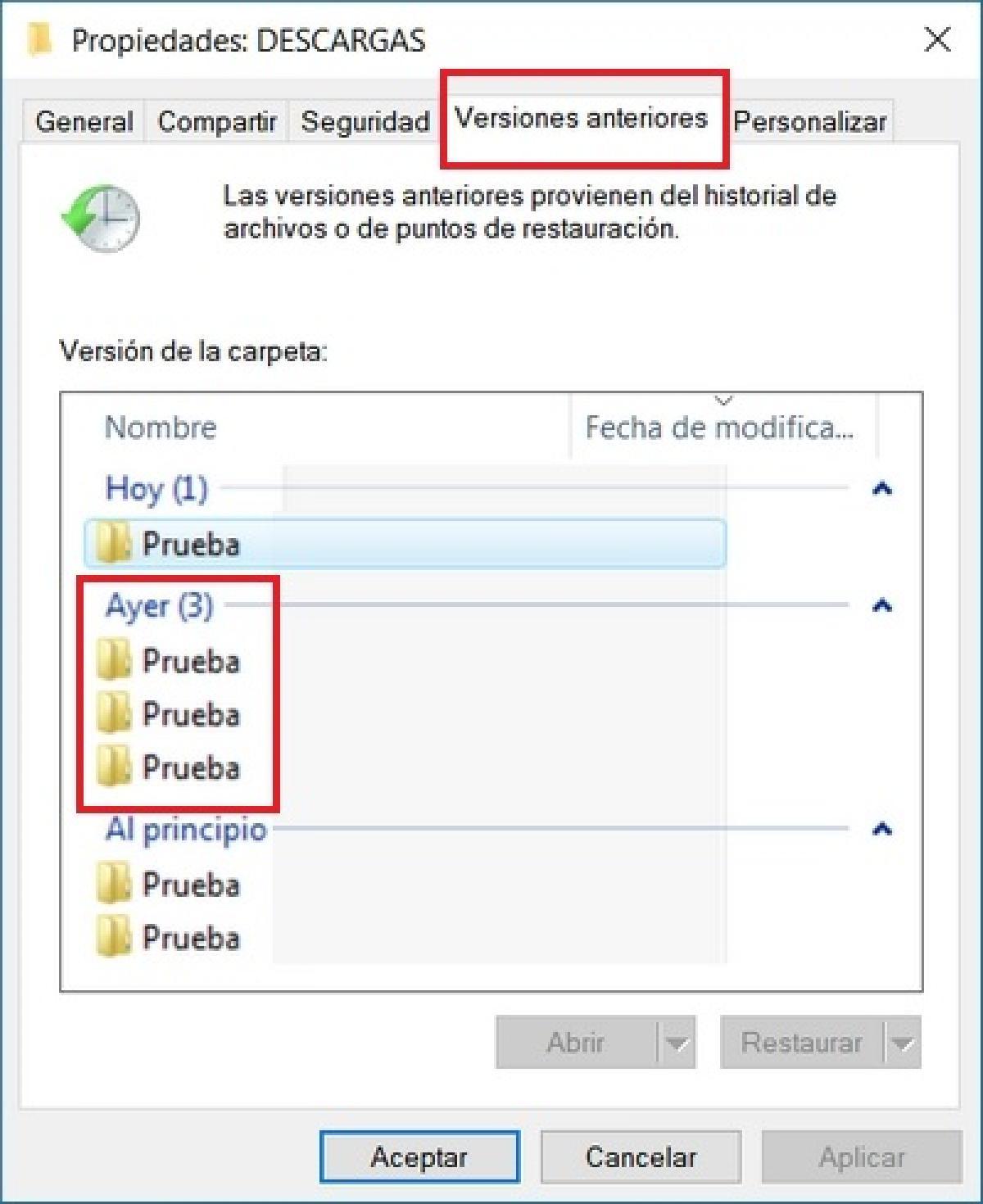 como recuperar archivos windows 7 y 10: Versión anterior