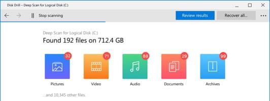 como recuperar archivos windows 7 y 10: Disk Drill busqueda