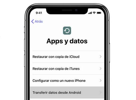 cómo cambiar de android a iphone fácilmente: Selección de transferencia
