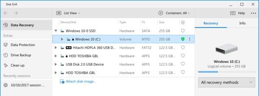 como recuperar archivos windows 7 y 10: Disk Drill unidad