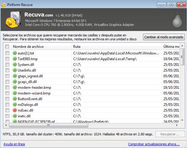 como recuperar archivos windows 7 y 10: Recuva selección