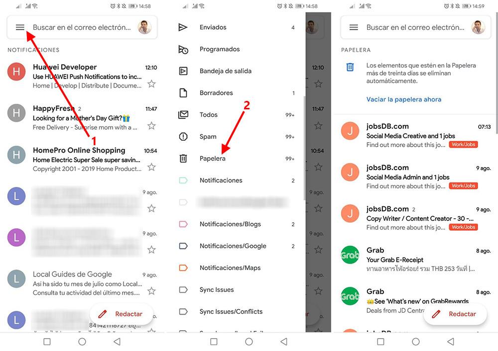 papelera correos android | Donde esta la papelera en los moviles Android